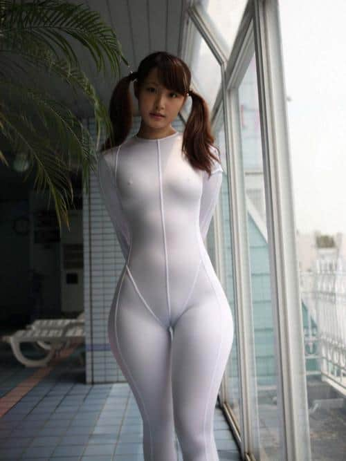 Asian Girl In A Very Revealing White Yoga Suit  Girls In -8699