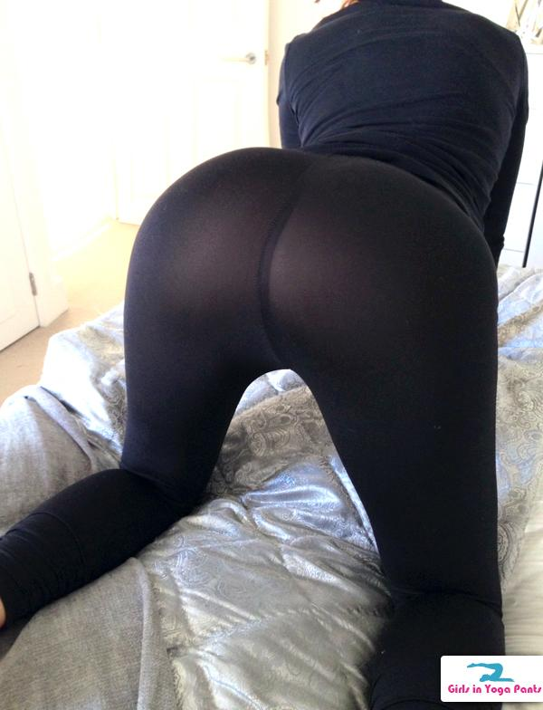 Thong girls yoga pants down