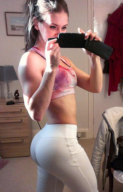 White girl with big booty in yoga pants