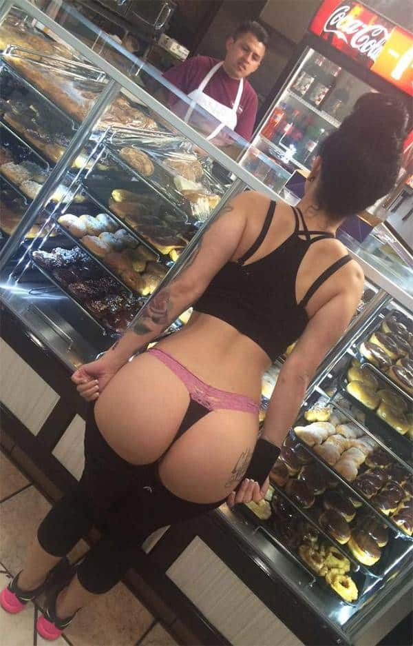 pulling-down-thong-in-donut-store-shop