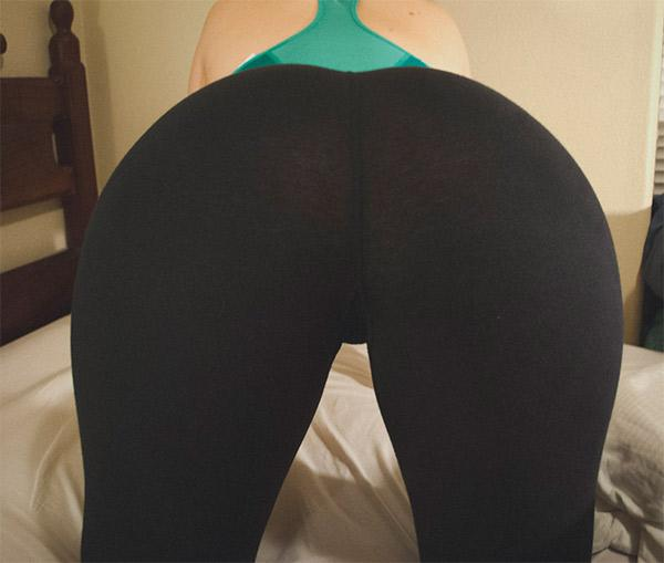 Topless babes in yoga pants