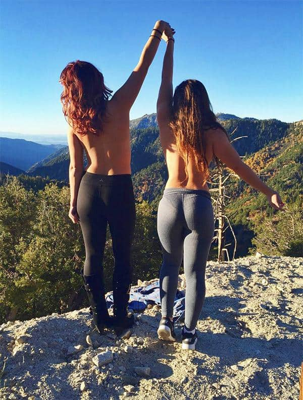 girls topless in yoga pants
