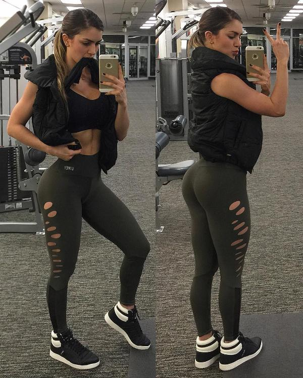 A Colombian model in yoga pants, yoga shorts and even less ...