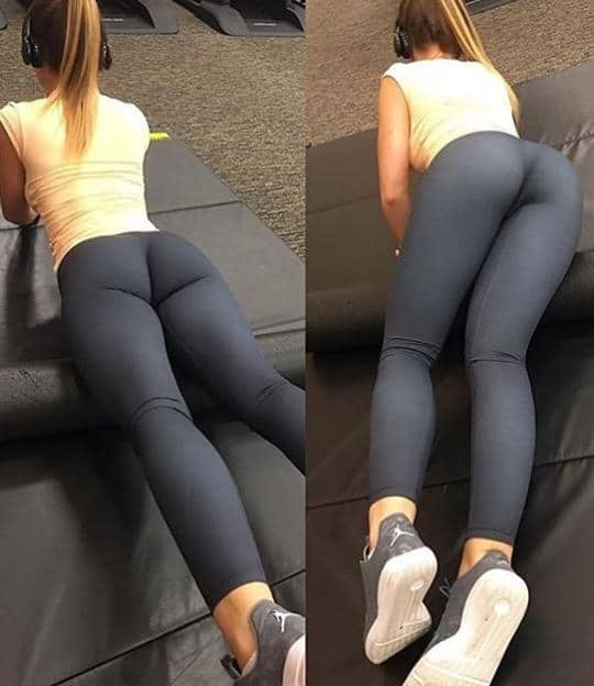 working out in yoga pants and jordans