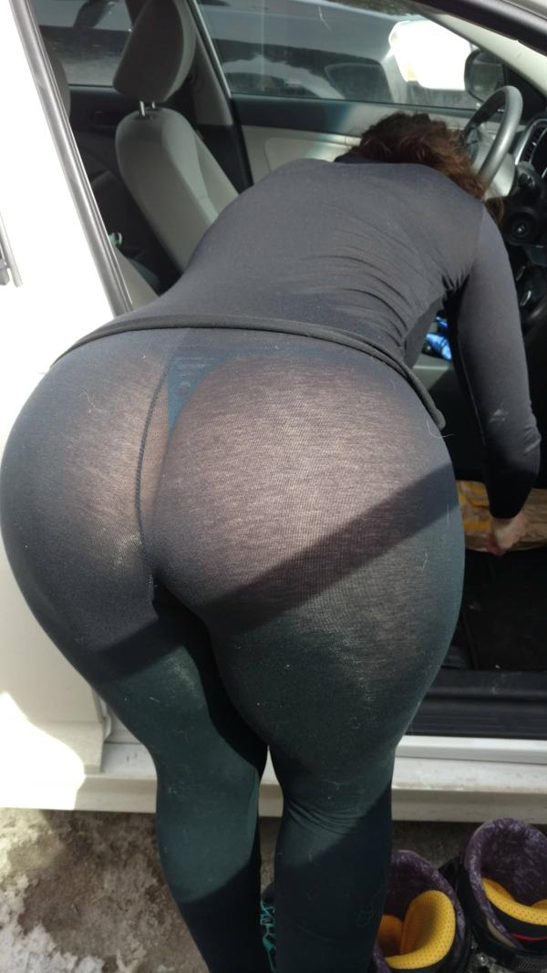 big booty in see through tights