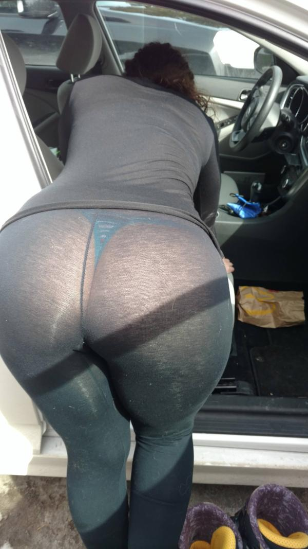 Girls bent over yoga pants