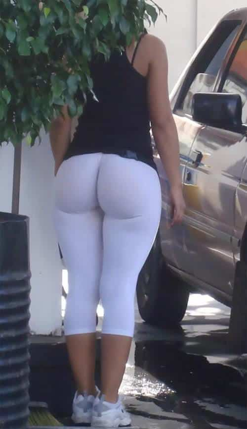 girl in white yoga pants