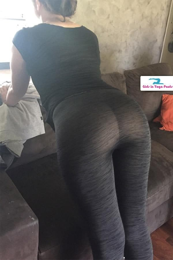 Big ass in see through yoga pants