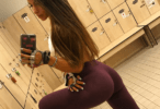 maroon yoga pants in locker room_preview